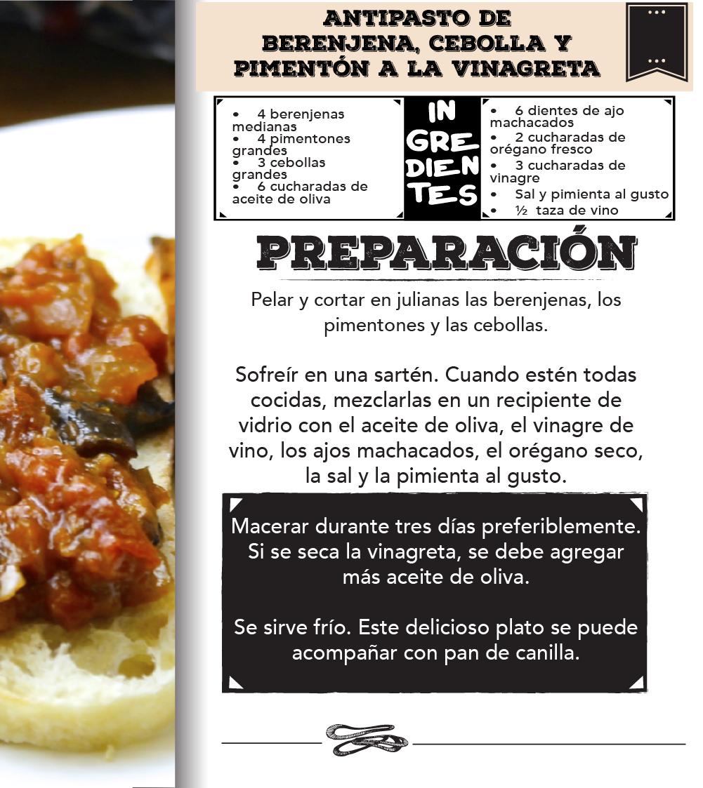 Antipasto de berenjena, cebolla y pimentón a la vinagreta