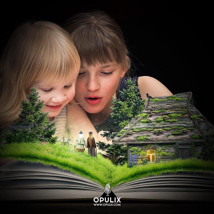 Niños leyendo libro mágico